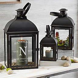 Family Initial Personalized Candle Lantern 3 Piece Set