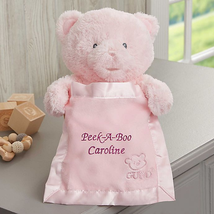 Alternate image 1 for Gund® Embroidered Peek-A-Boo Pink Teddy Bear - Pink