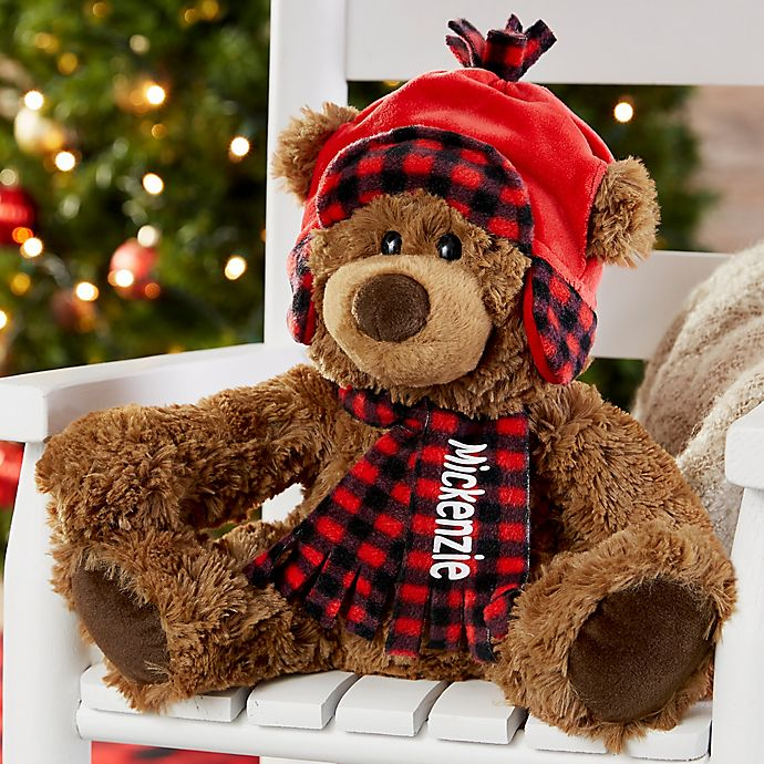 Alternate image 1 for Buffalo Check Personalized Christmas Teddy Bear