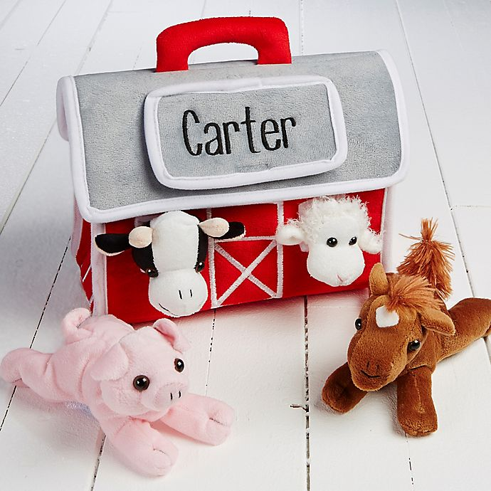 Alternate image 1 for Personalized Plush Play Barn and 4 Farm Animals