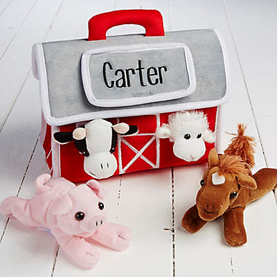 Personalized Plush Play Barn and 4 Farm Animals