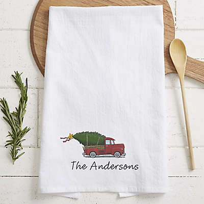 Classic Christmas Personalized Flour Sack Towel