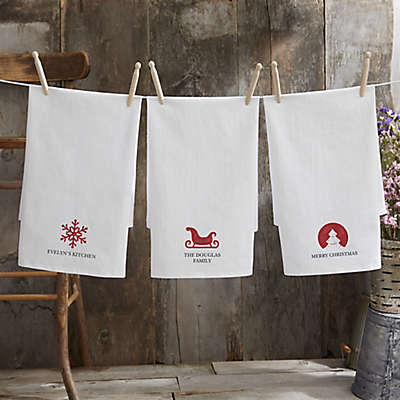 Christmas Icon Personalized Flour Sack Towel