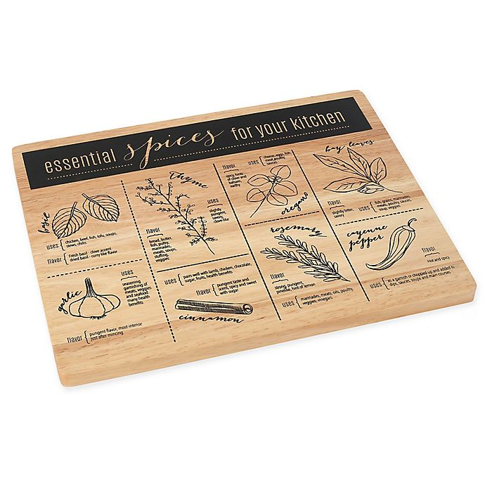 Alternate image 1 for Know Your Spices 10-Inch x 12.7-Inch Wood Cutting Board