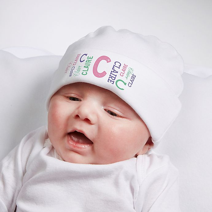 Alternate image 1 for Repeating Name Personalized Infant Cotton Hat
