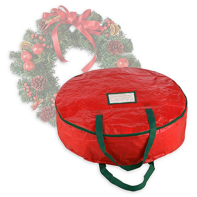 Alternate image 1 for Elf Stor 24-Inch Artificial Christmas Wreath Storage Bag in Red
