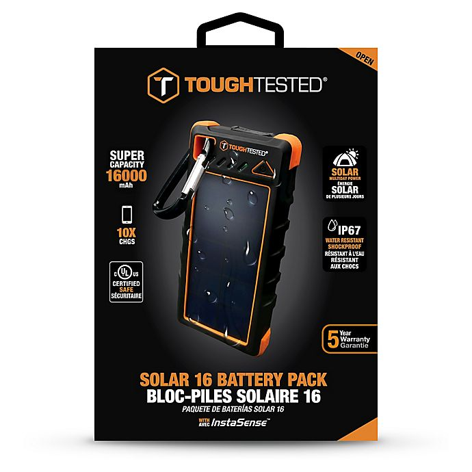 Alternate image 1 for ToughTested™ Power Bank 16000mAh Solar Power Bank in Black/Orange
