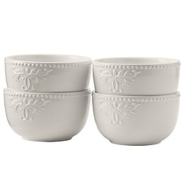 Modern Farmhouse Home Cereal Bowls in White (Set of 4)