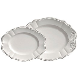 Modern Farmhouse Home 2-Piece Oval Platter Set in White