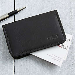 Signature Personalized Black Leather Business Card Case