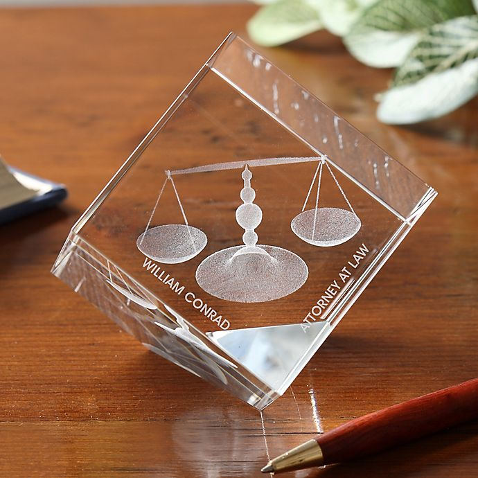 Alternate image 1 for Scales of Justice 3-D Personalized Crystal Sculpture