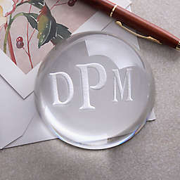 Monogram Crystal Prism Personalized Paperweight