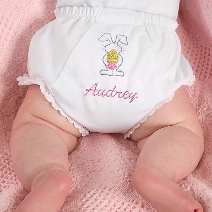 Alternate image 1 for Fancy Pants Embroidered Diaper Cover in Easter Bunny
