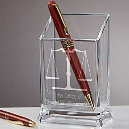 Law Office Personalized Acylic Pen & Pencil Holder