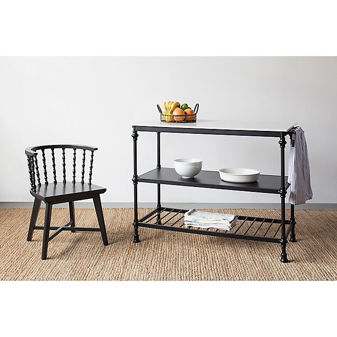 Bee Willow Home Stone Top Kitchen Cart In Black Bed