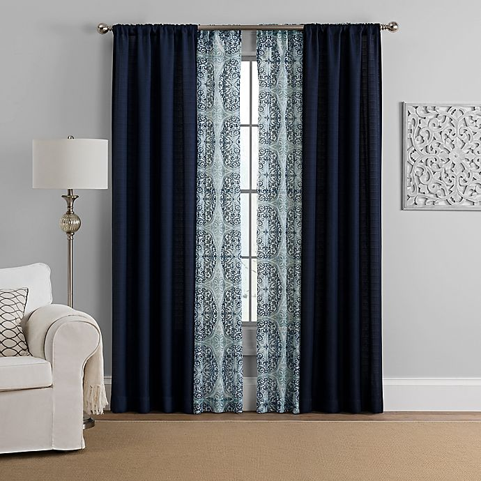 Alternate image 1 for Morris 4-Pack Rod Pocket Solid and Printed Voile Window Curtain Panels
