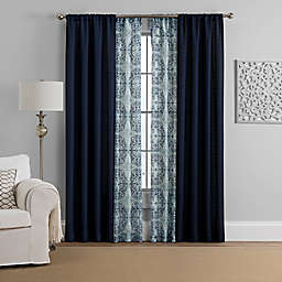Morris 4-Pack Rod Pocket Solid and Printed Voile Window Curtain Panels
