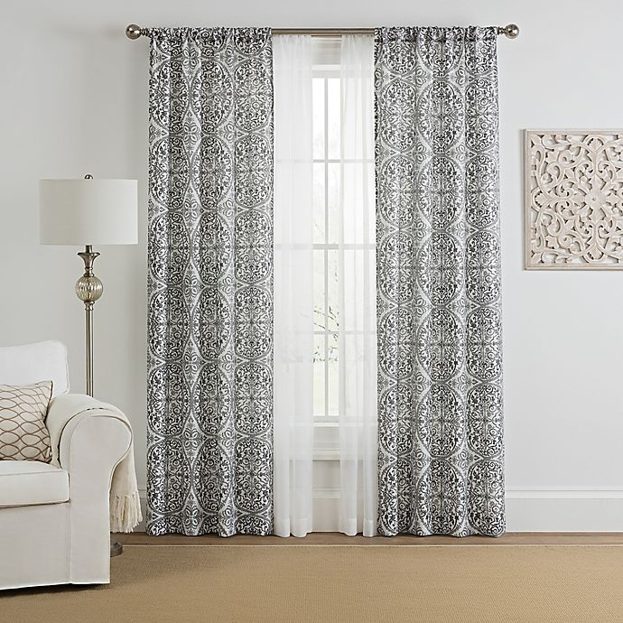 Alternate image 1 for Morris Medallion 4-Pack Rod Pocket Window Curtain Panels with Voile in Grey (Set of 4)