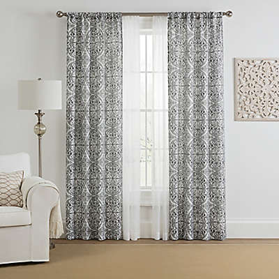 Morris Medallion 4-Pack Rod Pocket Window Curtain Panels with Voile in Grey (Set of 4)