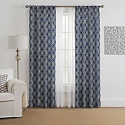 Morris Diamond 4-Pack Rod Pocket Window Curtain Panels with Voile in Indigo