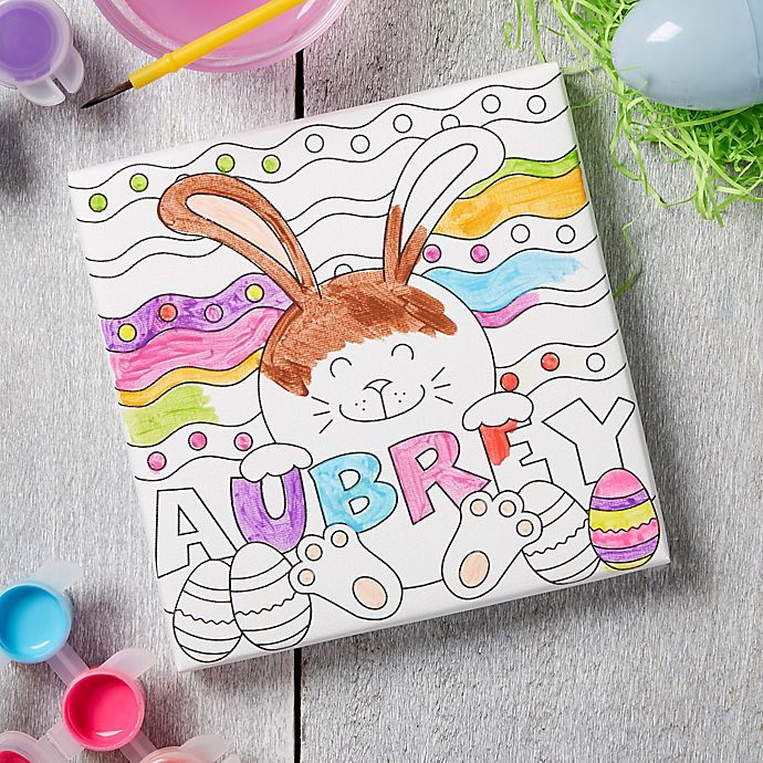 Alternate image 1 for Easter Bunny Personalized Coloring Canvas Print