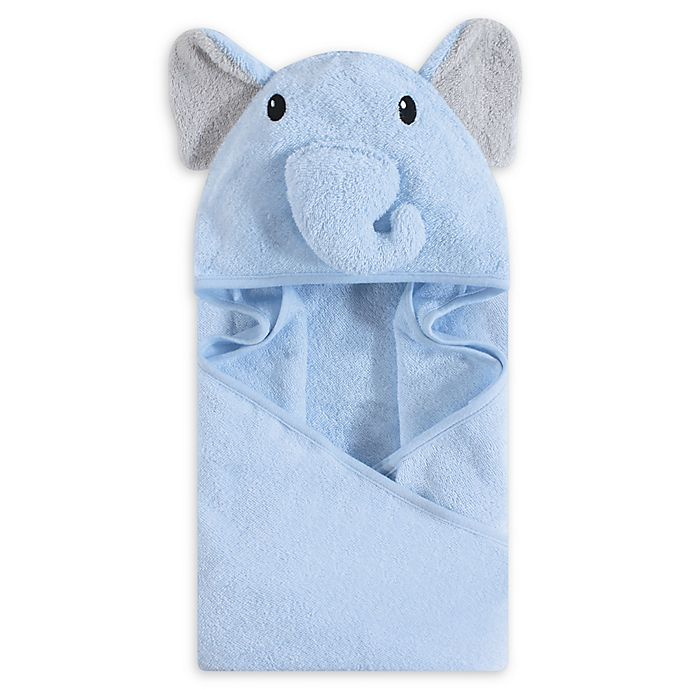 Alternate image 1 for Hudson Baby® Elephant Face Hooded Towel in Blue