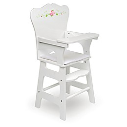Badger Basket Rose Doll High Chair in White