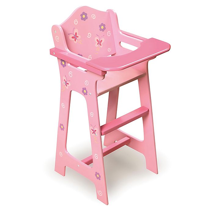 Alternate image 1 for Badger Basket Blossoms and Butterflies Doll High Chair in Pink