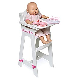 Badger Basket Doll High Chair with Accessories and Personalization Kit in White/Pink/Gingham