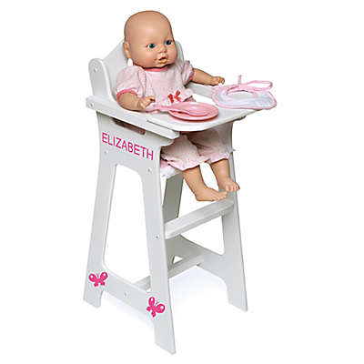 Badger Basket Doll High Chair with Pink Gingham Seat and Feeding Accessories