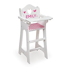 Badger Basket Doll High Chair with Accessories and Personalization Kit in White/Pink/Chevron