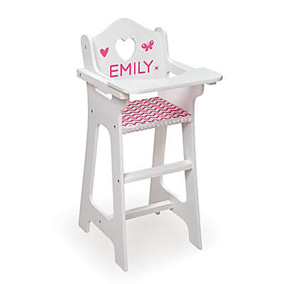 Badger Basket Doll High Chair with Red Gingham Seat and Feeding Accessories