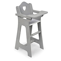 Badger Basket Heart Cut-Out Doll High Chair in Grey