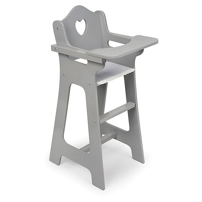 Alternate image 1 for Badger Basket Heart Cut-Out Doll High Chair in Grey