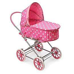 Badger Basket Just Like Mommy 3-in-1 Polka Dot Doll Pram in Pink/White