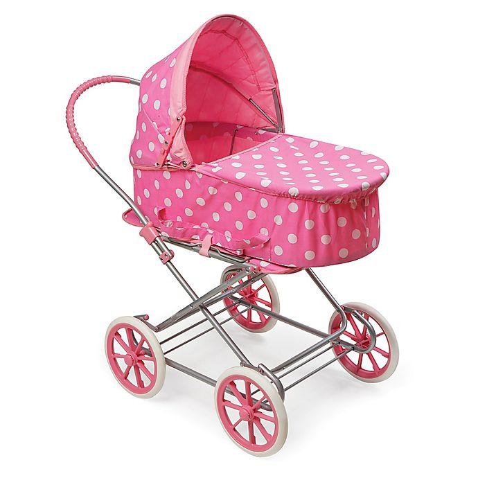 Alternate image 1 for Badger Basket Just Like Mommy 3-in-1 Polka Dot Doll Pram in Pink/White
