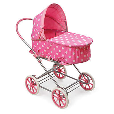 Badger Basket Just Like Mommy 3-in-1 Polka Dot Doll Pram in Pink/White