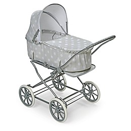 Badger Basket Just Like Mommy 3-in-1 Polka Dot Doll Pram in Grey/White