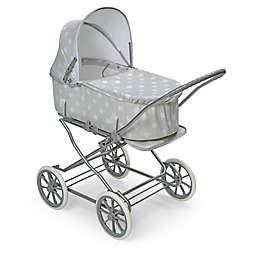 Badger Basket Just Like Mommy 3-in-1 Polka Dot Doll Pram in Grey/White