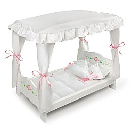 Badger Baskets Rose Canopy Doll Bed in White