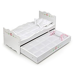 Badger Basket Doll Bed with Trundle in White Rose