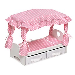 Badger Basket Canopy Doll Bed with Storage Baskets in White/Pink