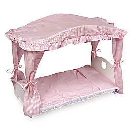 Badger Basket Canopy Doll Bed in White/Pink