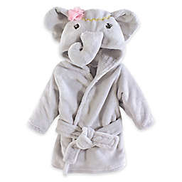 Little Treasures Size 0-9M Elephant Plush Bathrobe in Grey/Pink