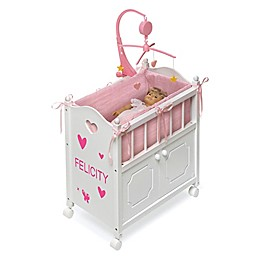 Badger Basket Cabinet Doll Crib with Bedding and Personalization Kit in White/Pink/Gingham