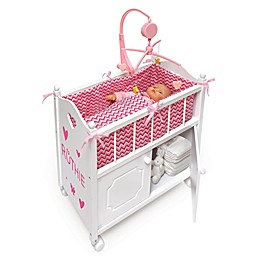 Badger Basket Cabinet Doll Crib with Bedding and Personalization Kit in White/Pink/Chevron