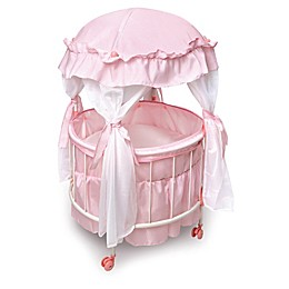 Badger Basket Royal Pavilion Round Doll Crib Set in Pink