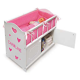 Badger Basket Doll Crib with Bedding in White/Pink Stars