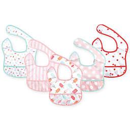 Hudson Baby 5-Pack Waterproof Ice Cream Beginner Bibs with Crumb Catcher Pocket in Pink