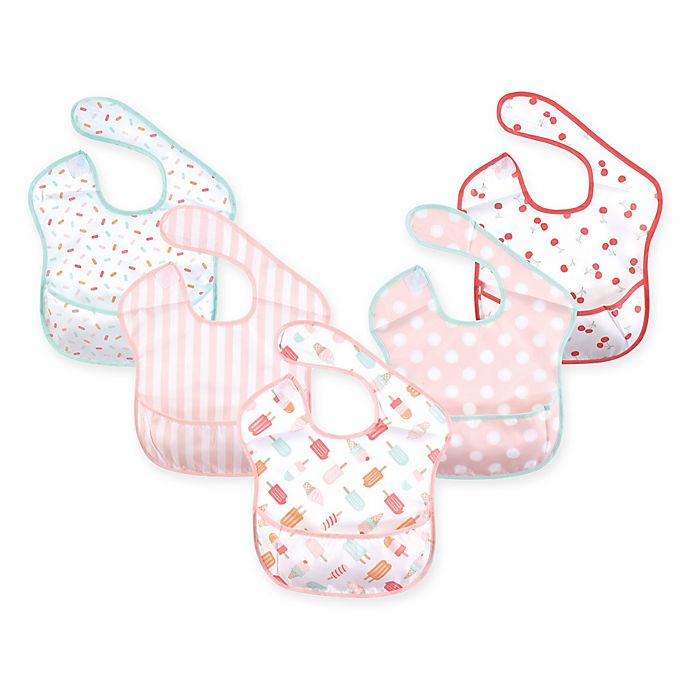 Alternate image 1 for Hudson Baby 5-Pack Waterproof Ice Cream Bibs with Crumb Catcher Pocket in Pink